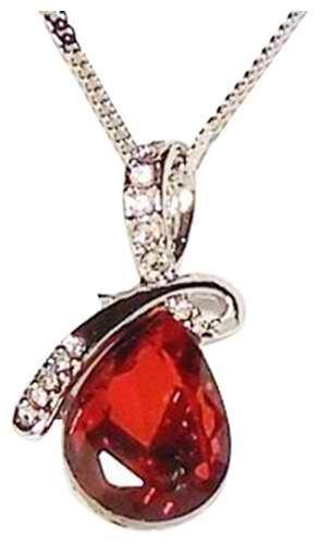 Buy Necklace - Ruby Red Eternal Love Teardrop Swarovski ...