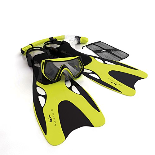 Aquadis Snorkel Set with Diving Mask, Dry Top Snorkel and Open Foot Pocket Luxury Fins for Men and Women- Best Snorkel Kit for Spearfishing and Scuba-Comes with a Travel Dive Gear Bag