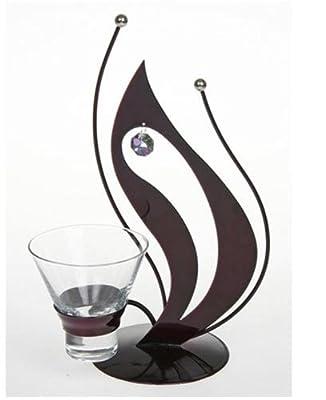 Candle Holder - Swarovski Crystal Stylish Purple Flamelike One Pot Metal Candle Holder Lp64010 by Leonardo Collection