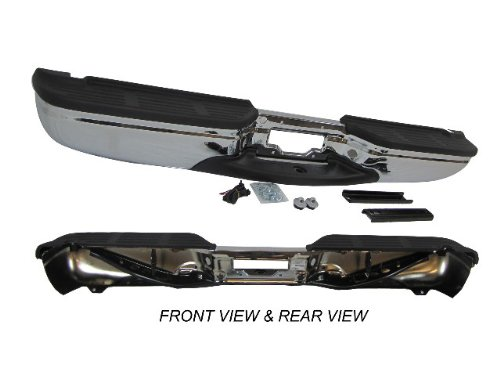 99-07 Ford Super Duty F250 F350 Rear Step Bumper Chrome Assy With Brackets, Pads front-989224