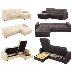 WorldStores Essentials Florida Corner Sofa Bed in Cream 4 Seater Sofa Bed Versatile Sofa