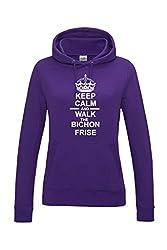 Keep Calm & Walk The Bichon Frise Dog Womens Hooded Sweatshirt