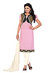 Inddus Pink & Off White Cotton Salwar Kameez