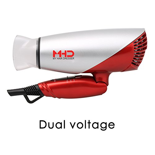 1875w Hair Dryer Dual Voltage Blow Dryer Dc Motor Foldable Handle Negative Ionic Function Speed Settings (hight-off-low) Cool Shot Button Ceramic Tourmaline Air Outlet Grill 1.8m Salon Power Cord (Hair Dryer Ceramic Travel compare prices)