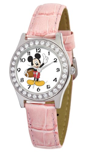 Disney Women's D1495S016 Queen Collection Mickey Mouse Pink Leather Strap Watch