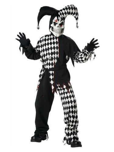 California Costumes Boys Black Evil Jester Costume with Joker Mask