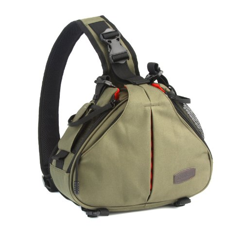 Andoer Caden K1 Waterproof Fashion Casual DSLR Camera Bag Case Messenger Shoulder Bag for Canon Nikon Sony (Green)