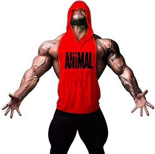 Motivo Gillbro Mens Bodybuilding Stringer con cappuccio palestra Tank Top con cappuccio Gilet animale, A, L