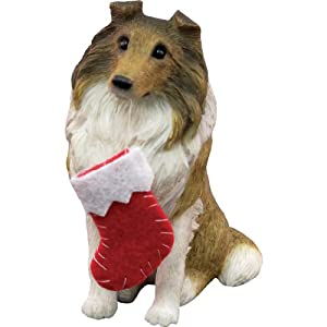 #!Cheap Sandicast Sable Collie with Stocking Christmas Ornament