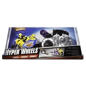 Hot Wheels Hyper Wheels Super Bikes Playset - 1 Yellow 1 Purple Motorcycle Racer