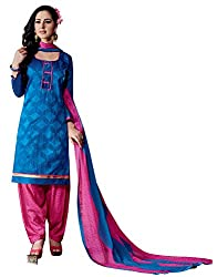 Ethnic For You Chanderi Unstitched Salwar Suit Dress Materials(Blue)