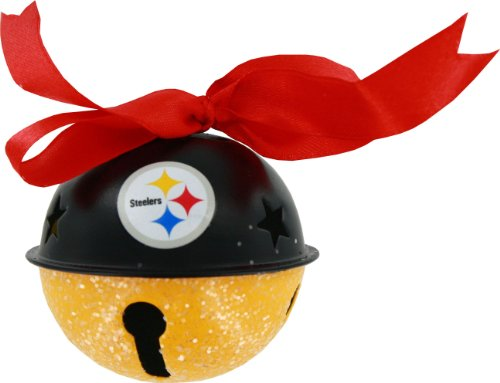 Pittsburgh Steelers Metal Glitter Bell Ornament at Steeler Mania