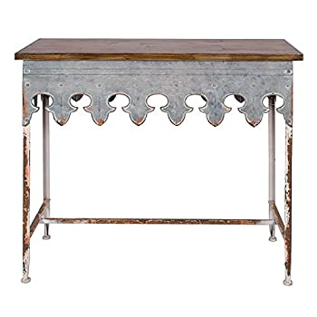 Creative Co-Op Metal Scalloped Edge Table with Zinc Finish and Wood Top