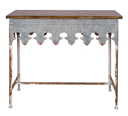 Creative Co-Op Metal Scalloped Edge Table with Zinc