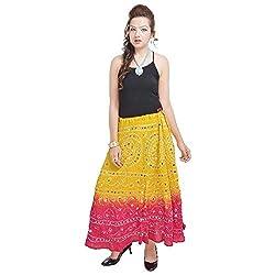 Prateek Retail Ethnic Yellow Long Cotton Skirt