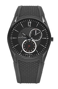 Unisex Watch Skagen 435XXLTBRB Chronograph Titanium Case Rubber Strap Black Ton