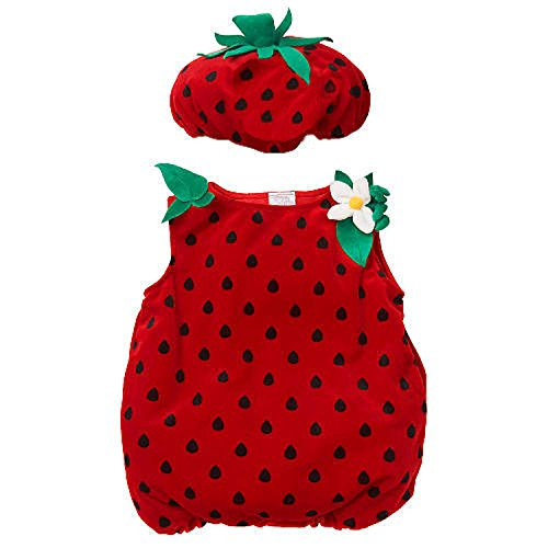 [Koala Kids Strawberry Baby Girls 2 Piece Plush Halloween Costume (18-24 Months)] (Strawberry Halloween Costumes)