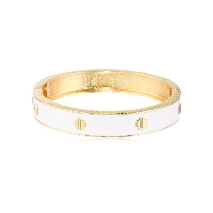 White Enamel Hinge Bangle Bracelet, 8.5