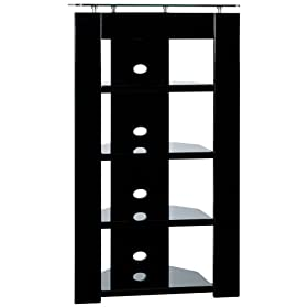 Planet 3 Metal and Glass 5-Shelf Media Unit, Black