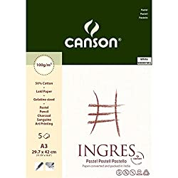 Canson Ingres Vidalon 100 GSM A3 Pack of 5 Laid Texture Sheets - White