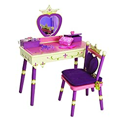Levels of Discovery® Always a Princess Vanity Set -The table has 2 boxes w/ hinged lids that can store makeup, jewelry & other royal treasures - Table measures 30½x15½x22\