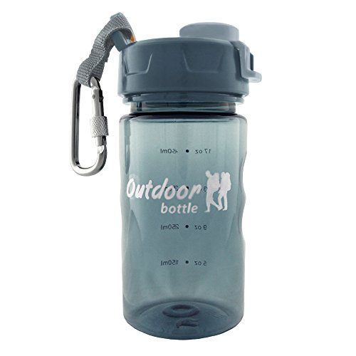 Outdoor Water Bottle With Carabiner - Leak Proof Flip-Cap - Compact 12 Ounce Handheld - BPA Free - Eco-friendly   Great For Outdoor Activites, Sports & Travel   Free User Guide Included On Outdoor Hydration & Liquid Cooling Tips