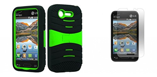 Lg Optimus Fuel / L34C (Straight Talk, Tracfone, Net 10) - Black & Neon Green Symbiosis Stormer Impact Shockproof Armor Kickstand Case Cover + Atom Led Keychain Light + Screen Protector Guard