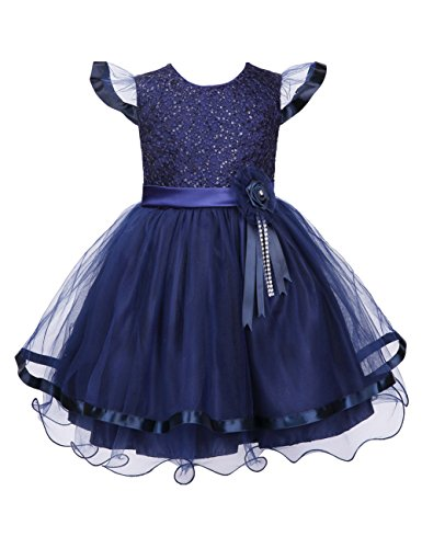 Colorful House Girls' Embroidery Flower Formal Party Princess Bridal Dress Royal Blue, Size 12 for US 8 (7-8 Years)