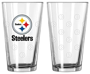 Pittsburgh Steelers Satin Etch Pint Glass Set at SteelerMania