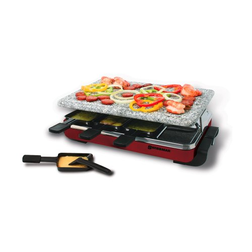 Swissmar 8 Person Red Classic Raclette Party Grill with Granite Stone