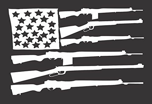 Flag Guns USA - Die Cut Vinyl Window Decal/Sticker for Car/Truck 8.5