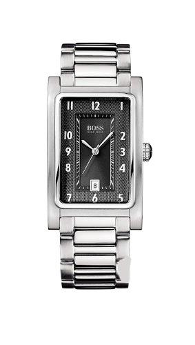 Hugo Boss men's stainless steel, black dial classic steel bracelet watch 1512214