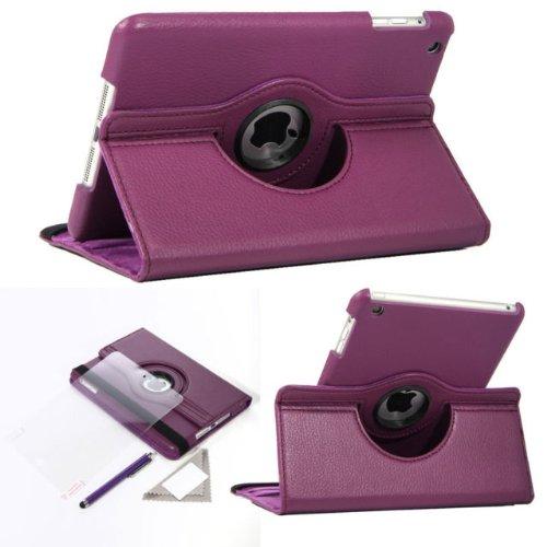 RAS ® Apple IPAD MINI Tablet Custodia in pelle con funzione di supporto, orientabile a 360° elastico, cinghia, pellicola proteggi schermo e pennino touch, per IPAD MINI viola