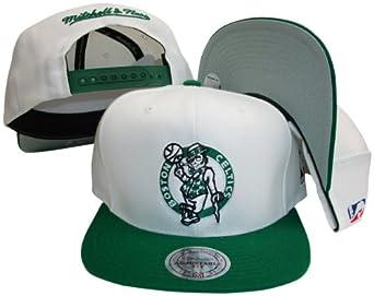 Boston Celtics White Green Two Tone Snapback Adjustable Plastic Snap Back Hat Cap by Mitchell & Ness