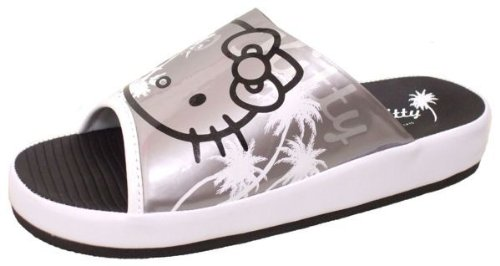 (Hello Kitty) HELLO KITTY men's Sandals fit SA-052 (L, silver/white)