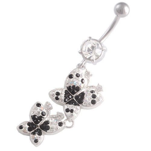 14 Gauge 1.6mm 3/8 10mm Butterfly dangly belly Crystal Jet Ferido navel button ring bar FCIF Body Pierced Jewellery