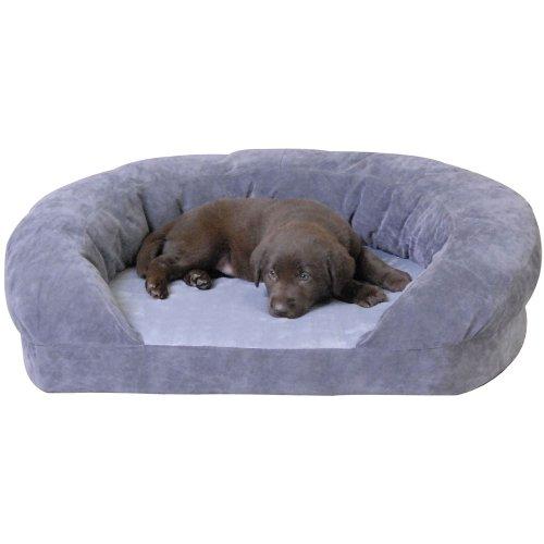 K&H Ortho Bolster Sleeper Pet Bed, Medium 30-Inch Round, Gray Velvet
