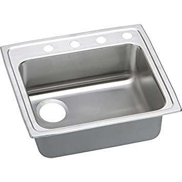 Elkao|#Elkay LRAD252140L4 18 Gauge Stainless Steel 25 Inch x 21.25 Inch x 4 Inch single Bowl Top Mount Kitchen Sink 4 Hole