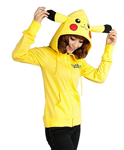 Qossi Pikachu Ears Face Tail Zip Hoodie Sweater Cosplay Cloak Jacket Coat,Yellow,Large