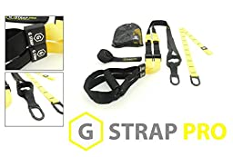 YELLOW G-STRAP PRO Home Gym Fitness Trainer (6 COLORS) BEST QUALITY GUARANTEED, Resistance Suspension Workout Training, WARRANTY