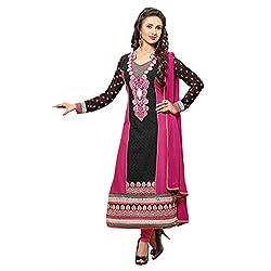 Pavani Women's Cotton Semi Stitched Dress Material (D1500010_Navy Blue_Free Size)