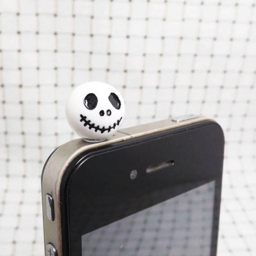 Adorable White Black Jack Skellington Skeleton Skull Ghost Dust Plug 3.5Mm Phone Accessory Cell Phone Plug Iphone Dust Plug Samsung Plug Phone Charm Headphone Jack Earphone Cap Ear Cap Dust Plug (White)