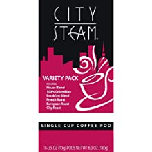 City Steam 17590 Variety Pack Single Cup Coffee Pods, 18-count