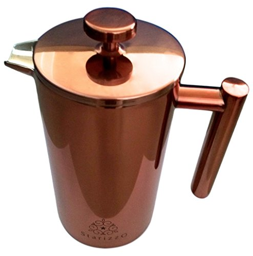 Starizzo Copper French Press, Coffee Maker With Beautiful Copper Finish, Insulated Stainless Steel, 34 oz.