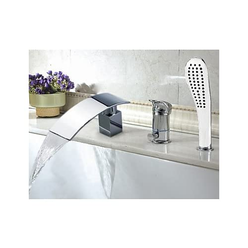Designer Chrome Finish Widespread Waterfall Tubfaucet with Hand Shower sale off 2015