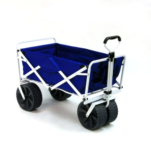 Mac Sports Heavy Duty Collapsible Folding All Terrain Utility Beach Wagon Cart, Blue/White (Beach Wagon With Big Wheels compare prices)