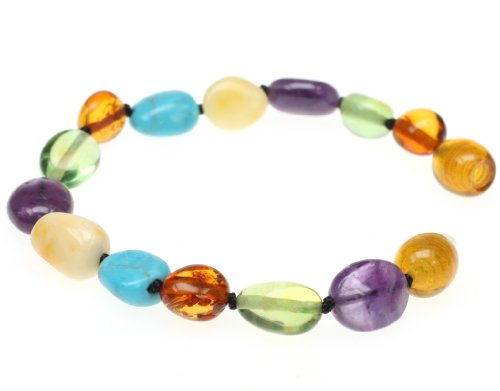 AMBER-BRACELET-Amberbeata-River-of-Colors-Baltic-Amber-Teething-Bracelet-and-Anklet-for-Baby-Cognac-Honey-Milky-Caribbean-Amber-Natural-Amethyst-and-Turquoise