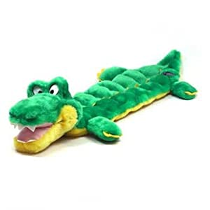 Kyjen PP02233 Squeaker Mat Gator 16 Squeaker Plush Squeak Toy Dog Toys, Large, Green