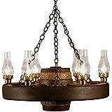 Small Wagon Wheel Chandelier Chimney Lights