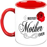 HomeSoGood Bestest Mother Ever White Ceramic Coffee Mug - 325 Ml